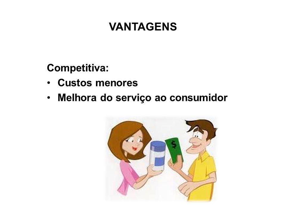 VANTAGENS Competitiva: Custos menores Melhora do serviço ao consumidor
