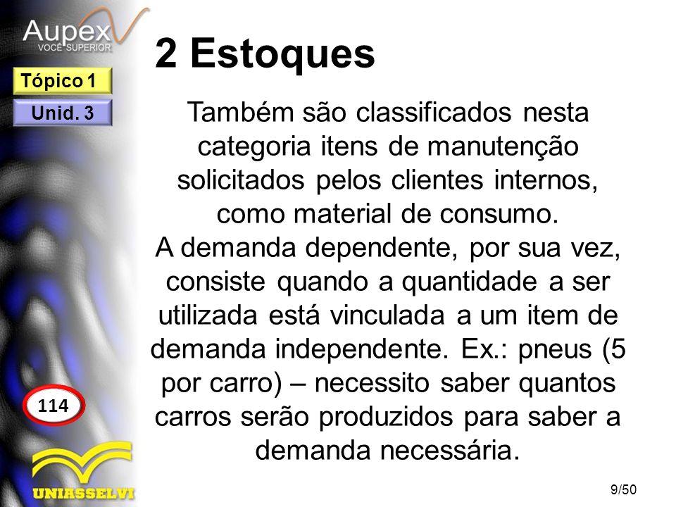 2 Estoques Tópico 1. Também são classificados nesta categoria itens de manutenção solicitados pelos clientes internos, como material de consumo.