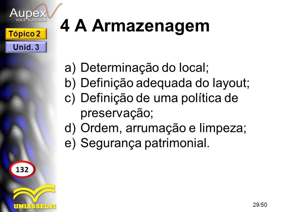 4 A Armazenagem Determinação do local; Definição adequada do layout;