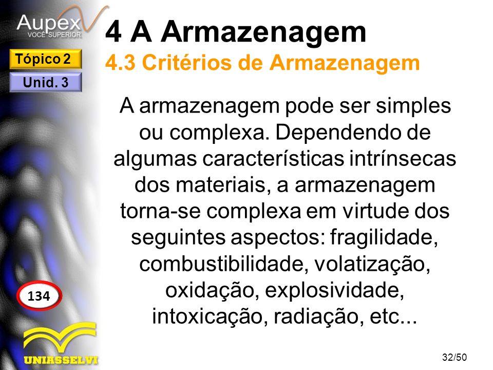 4 A Armazenagem 4.3 Critérios de Armazenagem