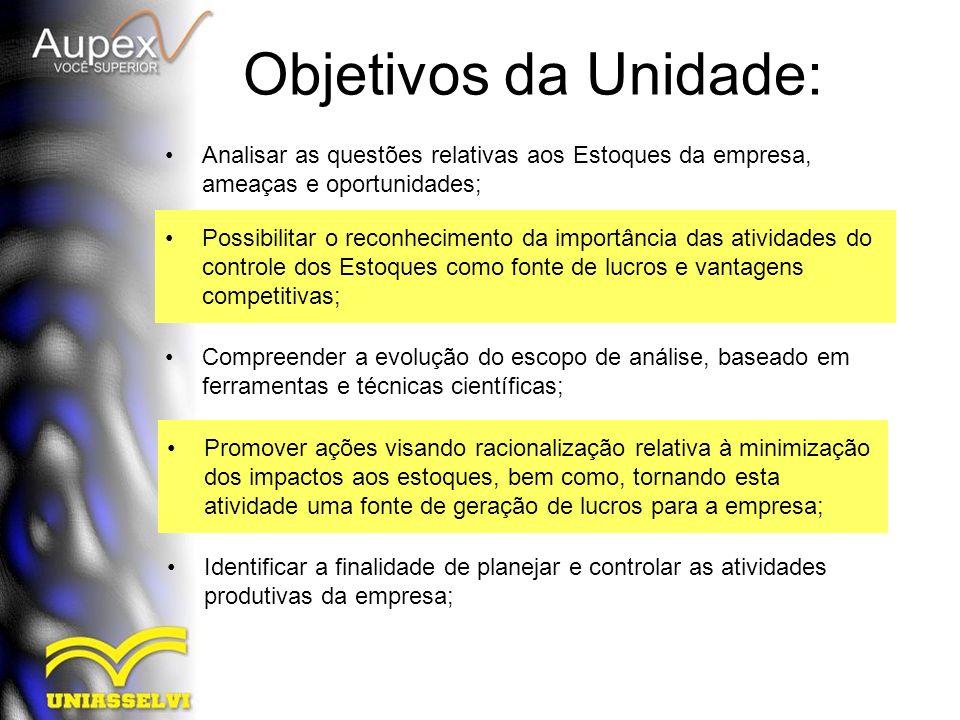 Objetivos da Unidade: Analisar as questões relativas aos Estoques da empresa, ameaças e oportunidades;