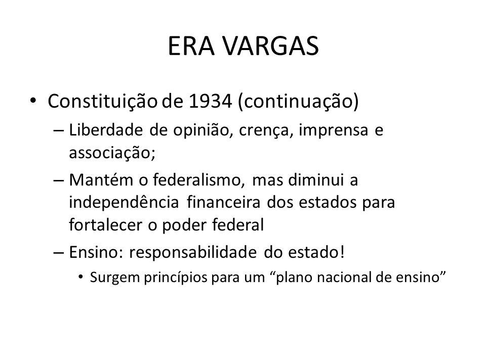 ERA VARGAS Constituição de 1934 (continuação)