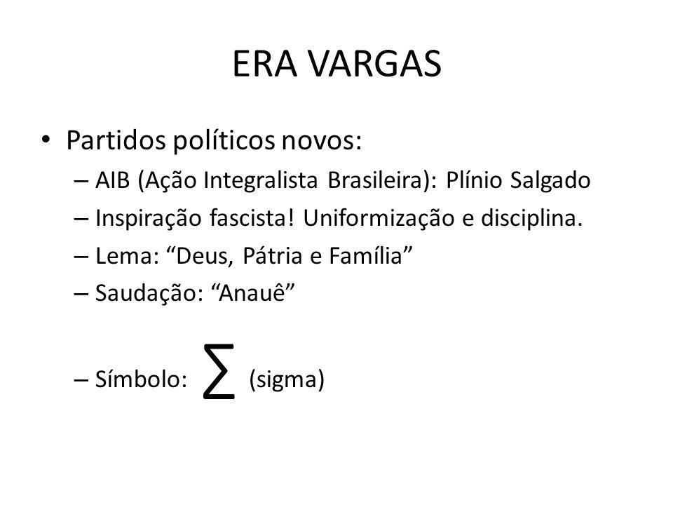 ERA VARGAS Partidos políticos novos:
