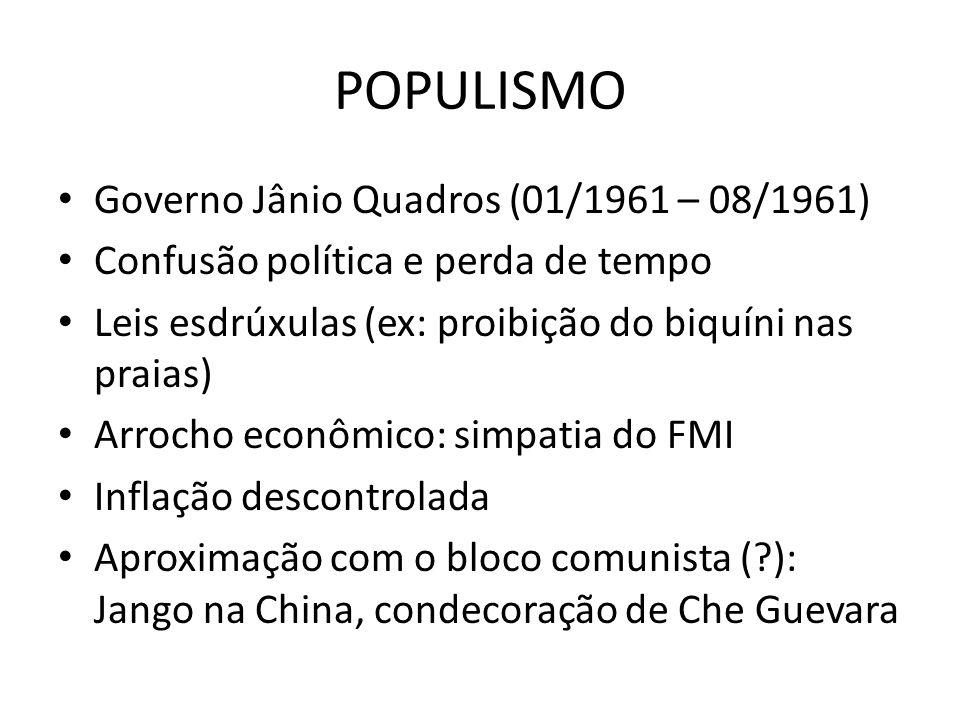 POPULISMO Governo Jânio Quadros (01/1961 – 08/1961)