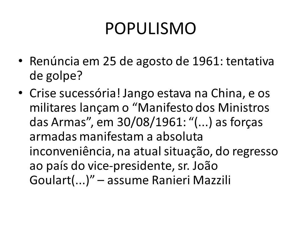 POPULISMO Renúncia em 25 de agosto de 1961: tentativa de golpe