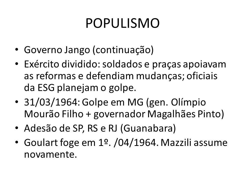 POPULISMO Governo Jango (continuação)