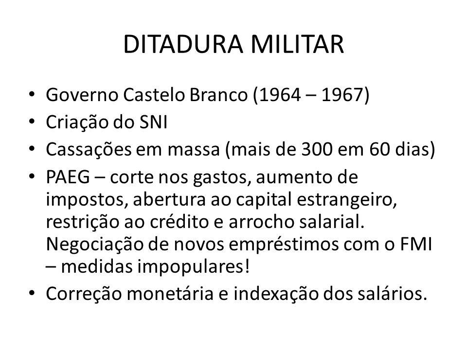 DITADURA MILITAR Governo Castelo Branco (1964 – 1967) Criação do SNI