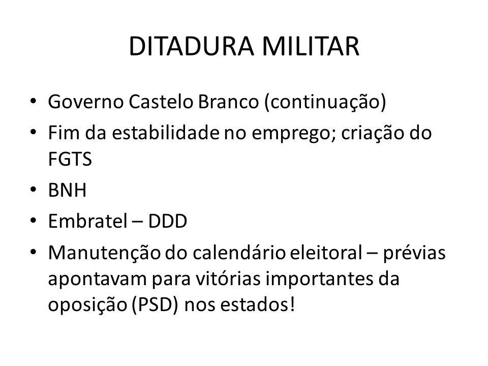 DITADURA MILITAR Governo Castelo Branco (continuação)