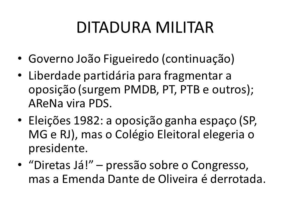 DITADURA MILITAR Governo João Figueiredo (continuação)
