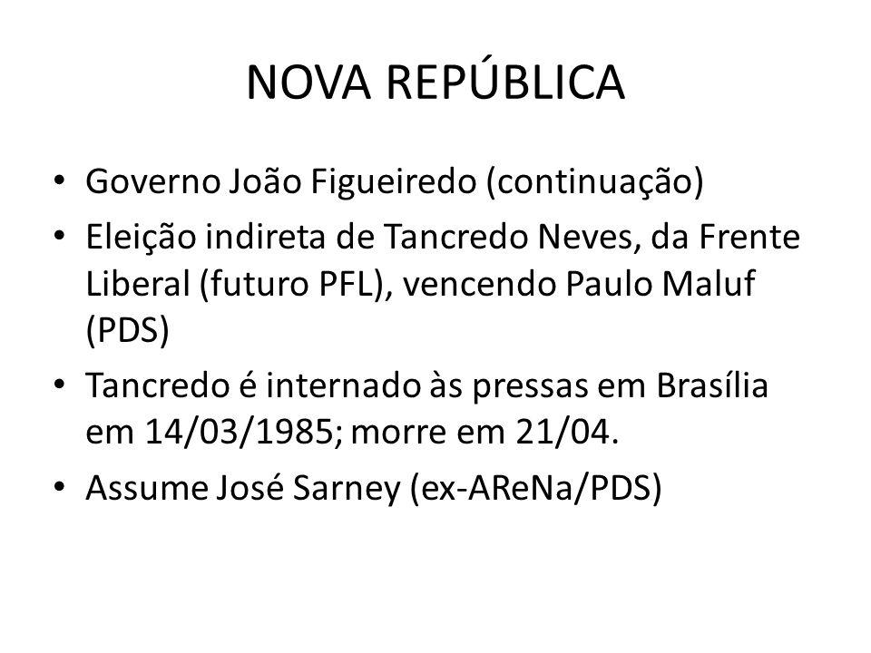 NOVA REPÚBLICA Governo João Figueiredo (continuação)