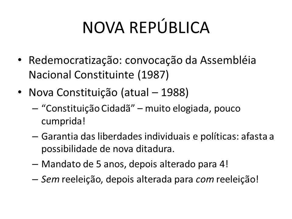 NOVA REPÚBLICA Redemocratização: convocação da Assembléia Nacional Constituinte (1987) Nova Constituição (atual – 1988)