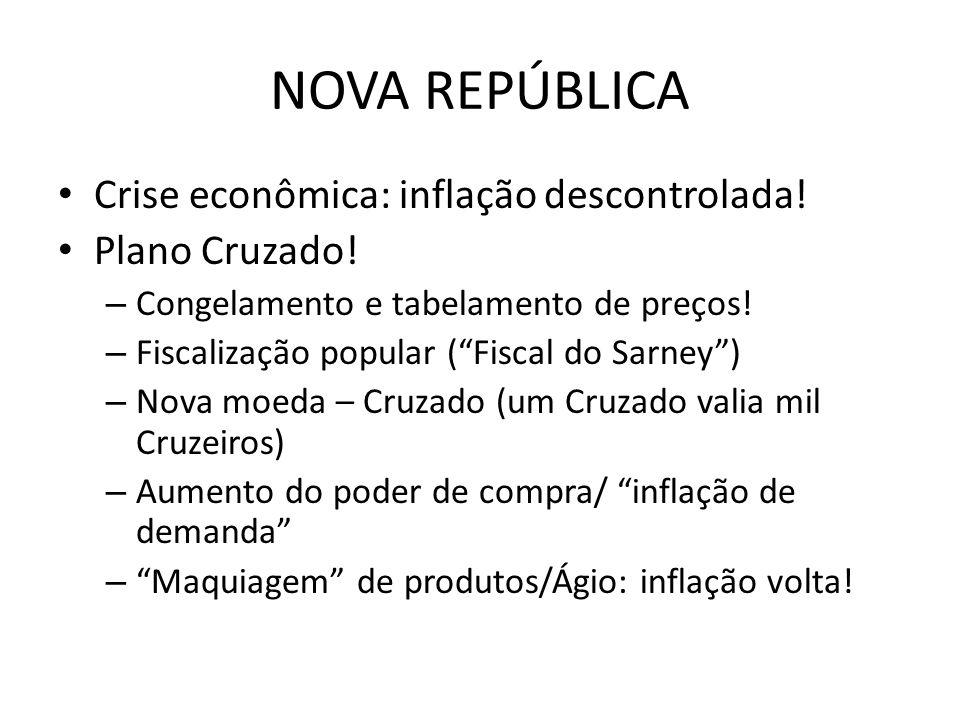 NOVA REPÚBLICA Crise econômica: inflação descontrolada! Plano Cruzado!