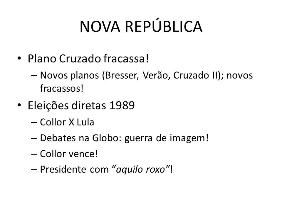NOVA REPÚBLICA Plano Cruzado fracassa! Eleições diretas 1989