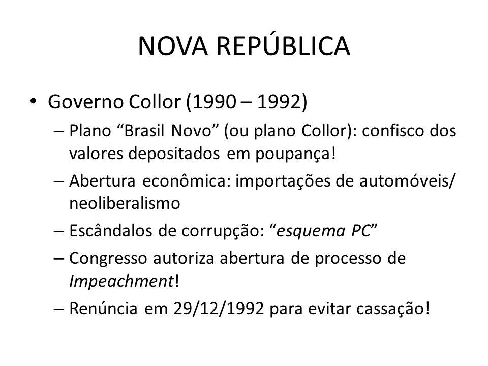 NOVA REPÚBLICA Governo Collor (1990 – 1992)