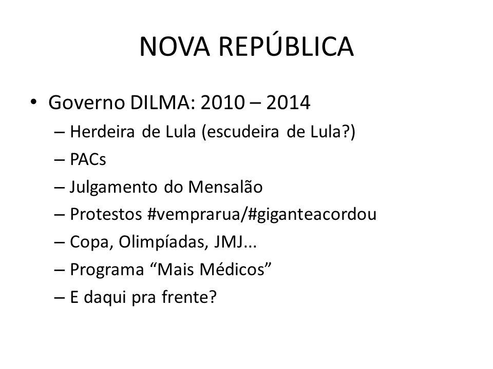 NOVA REPÚBLICA Governo DILMA: 2010 – 2014