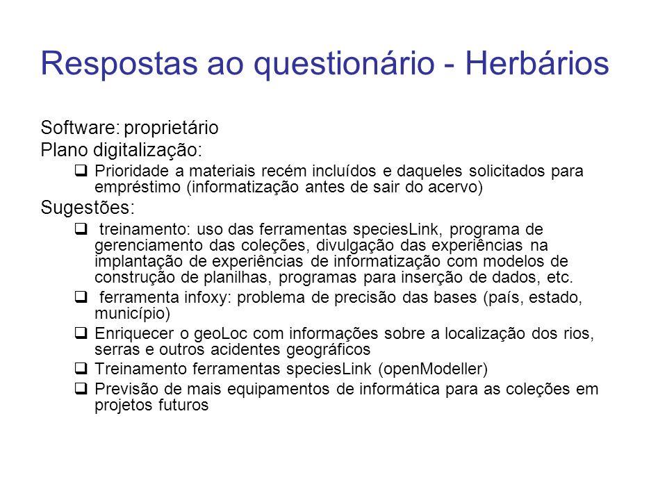 Respostas ao questionário - Herbários