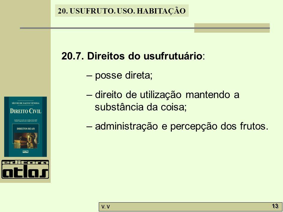 20.7. Direitos do usufrutuário: