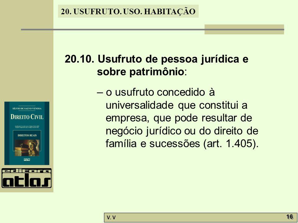 20.10. Usufruto de pessoa jurídica e sobre patrimônio:
