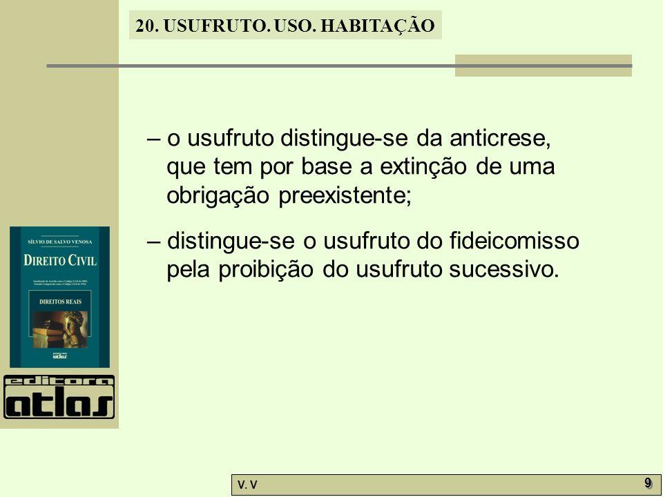 – o usufruto distingue-se da anticrese, que tem por base a extinção de uma obrigação preexistente;