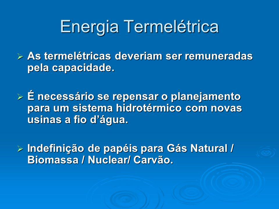 Energia Termelétrica As termelétricas deveriam ser remuneradas pela capacidade.