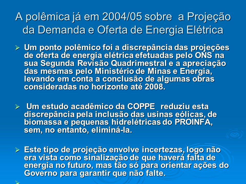 A polêmica já em 2004/05 sobre a Projeção da Demanda e Oferta de Energia Elétrica