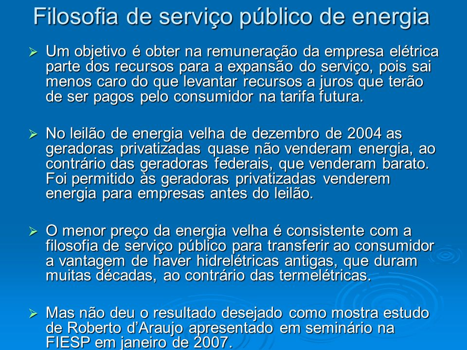 Filosofia de serviço público de energia