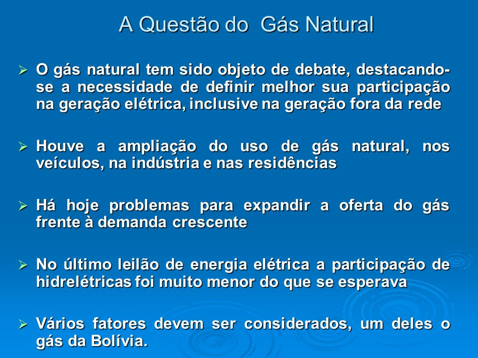 A Questão do Gás Natural