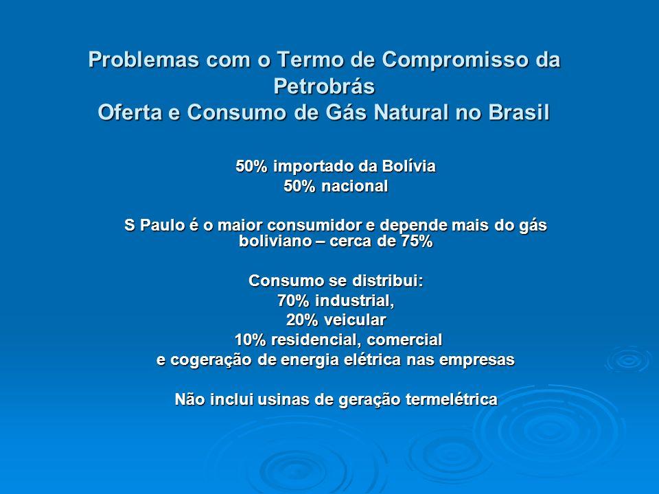 Problemas com o Termo de Compromisso da Petrobrás Oferta e Consumo de Gás Natural no Brasil