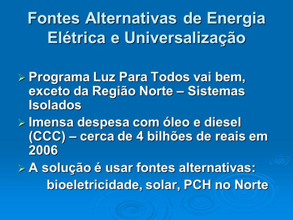 Fontes Alternativas de Energia Elétrica e Universalização