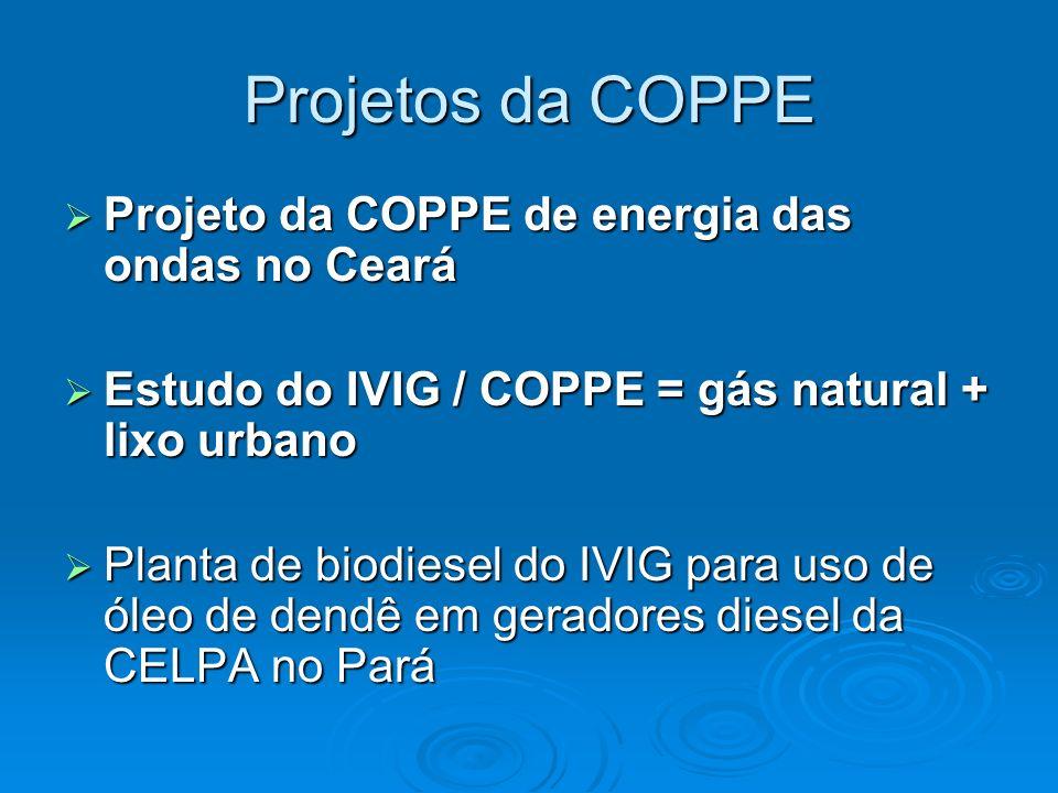 Projetos da COPPE Projeto da COPPE de energia das ondas no Ceará