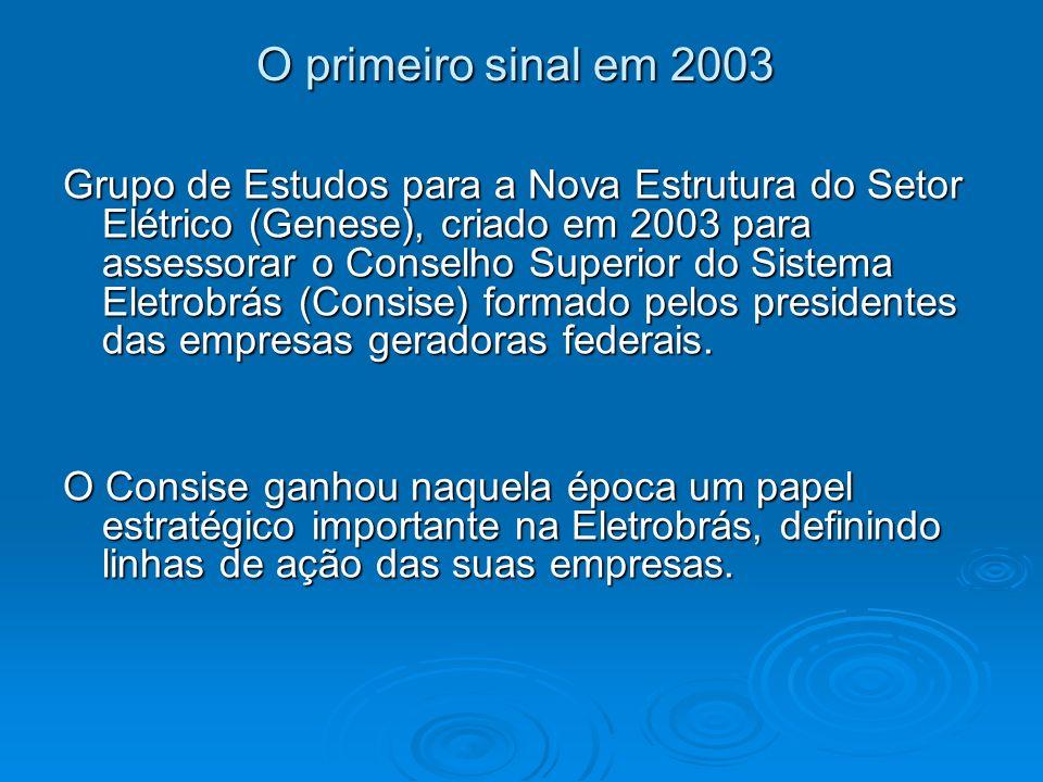 O primeiro sinal em 2003