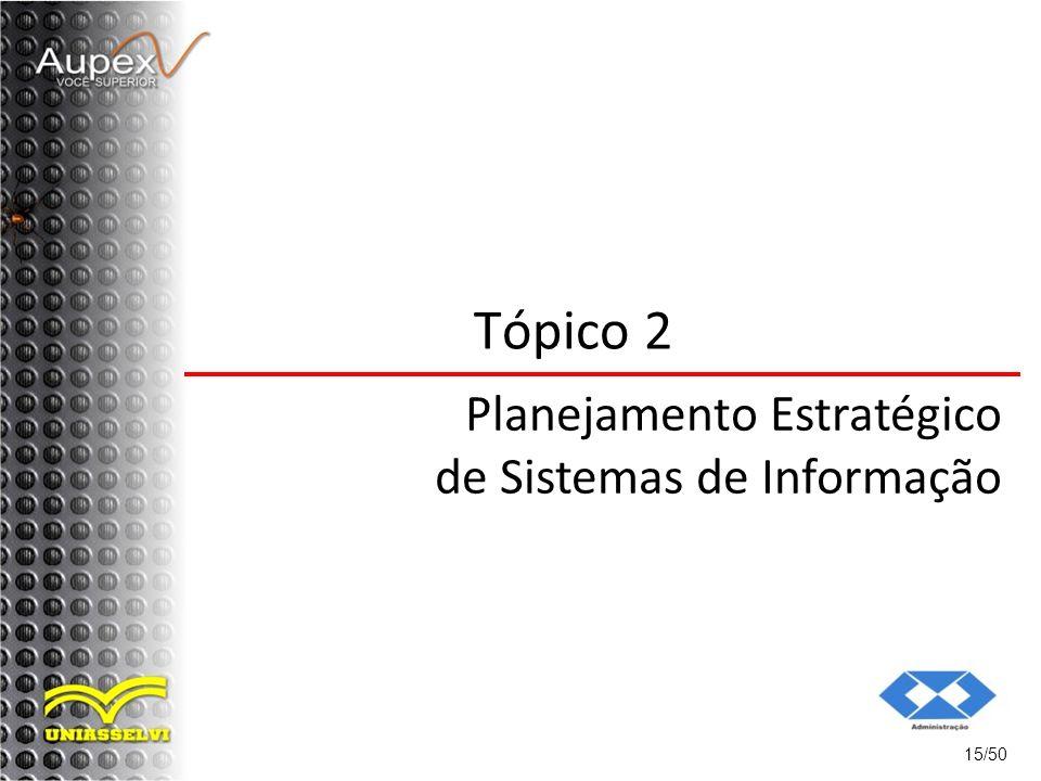 Tópico 2 Planejamento Estratégico de Sistemas de Informação 15/50
