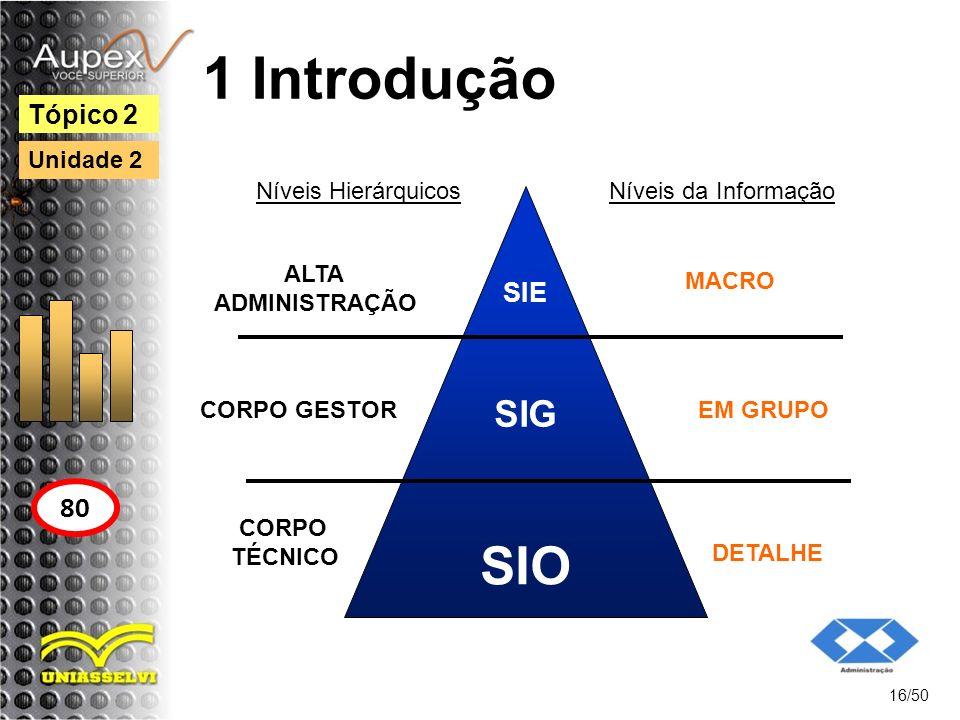 1 Introdução SIO SIG 80 Tópico 2 SIE Unidade 2 Níveis da Informação