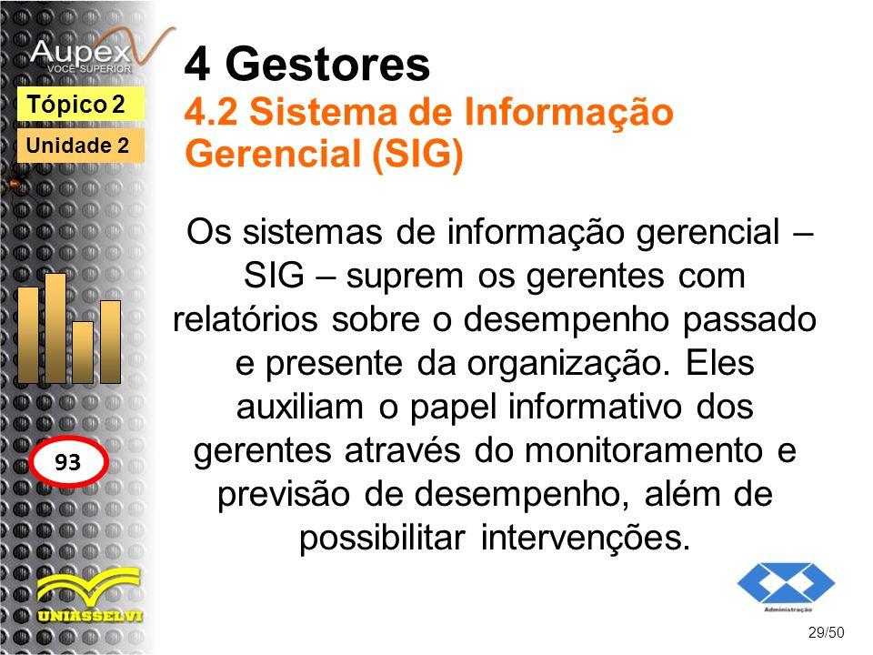 4 Gestores 4.2 Sistema de Informação Gerencial (SIG)