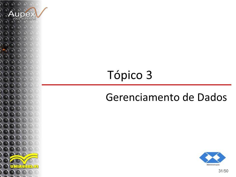 Tópico 3 Gerenciamento de Dados 31/50