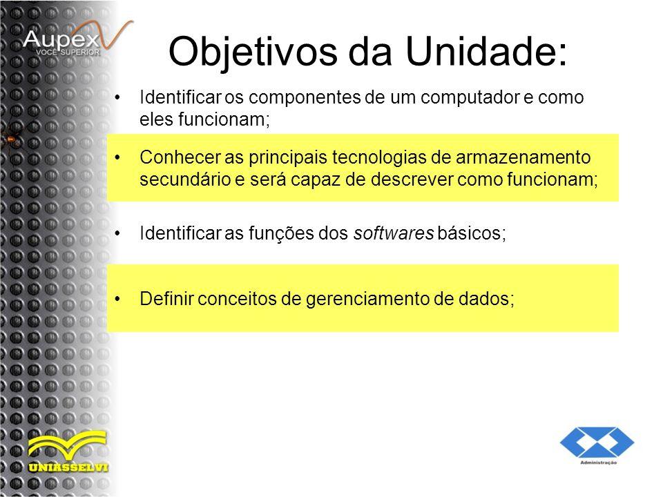 Objetivos da Unidade: Identificar os componentes de um computador e como eles funcionam;