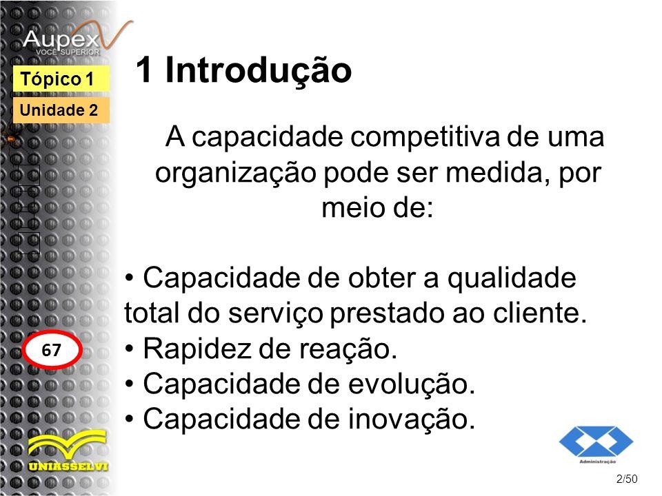 1 Introdução Tópico 1. Unidade 2. A capacidade competitiva de uma organização pode ser medida, por meio de: