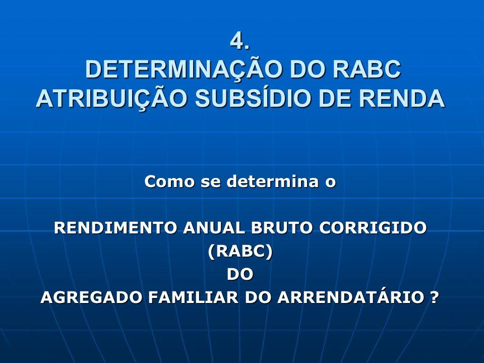 4. DETERMINAÇÃO DO RABC ATRIBUIÇÃO SUBSÍDIO DE RENDA
