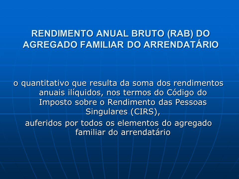 RENDIMENTO ANUAL BRUTO (RAB) DO AGREGADO FAMILIAR DO ARRENDATÁRIO