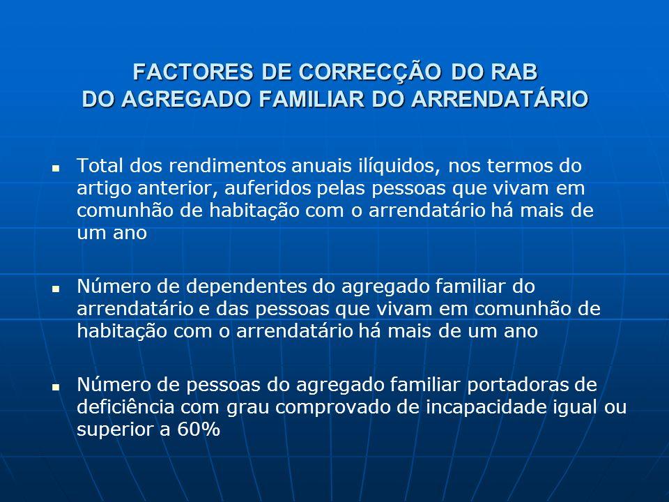 FACTORES DE CORRECÇÃO DO RAB DO AGREGADO FAMILIAR DO ARRENDATÁRIO