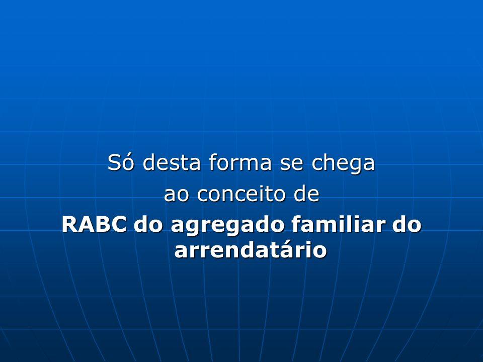 RABC do agregado familiar do arrendatário