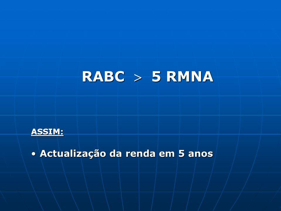 RABC  5 RMNA ASSIM: Actualização da renda em 5 anos