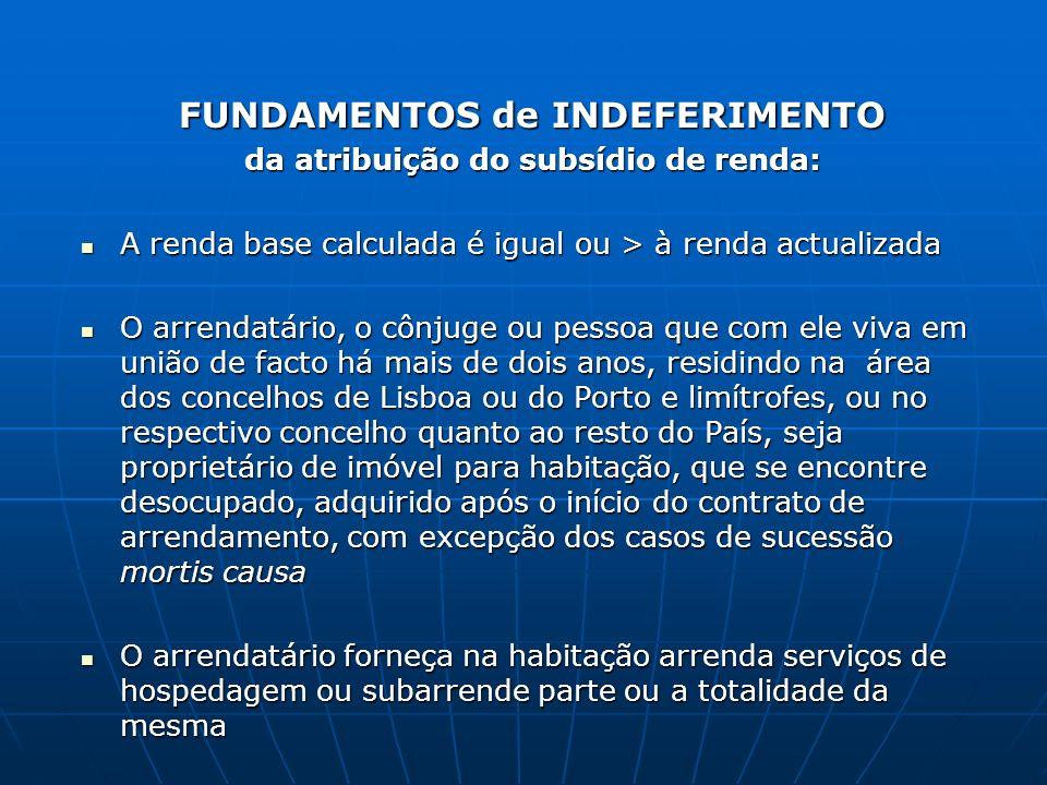 FUNDAMENTOS de INDEFERIMENTO da atribuição do subsídio de renda: