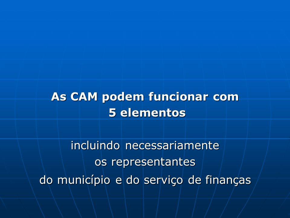 As CAM podem funcionar com 5 elementos incluindo necessariamente os representantes do município e do serviço de finanças