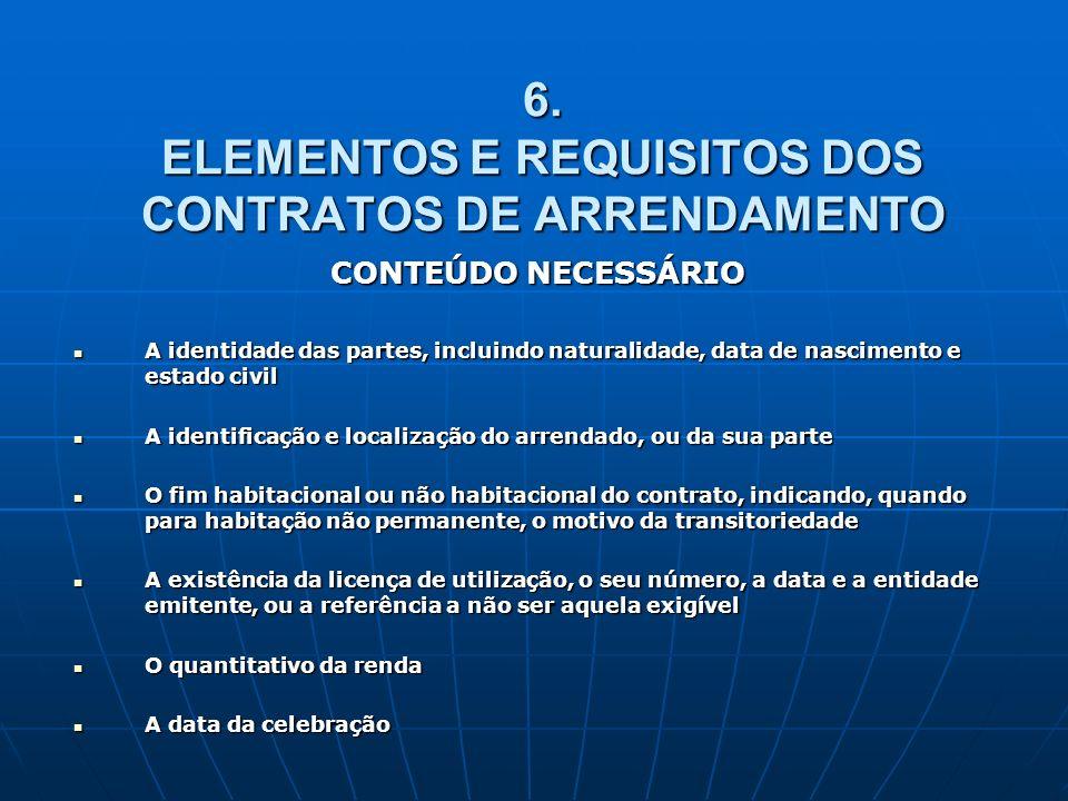 6. ELEMENTOS E REQUISITOS DOS CONTRATOS DE ARRENDAMENTO