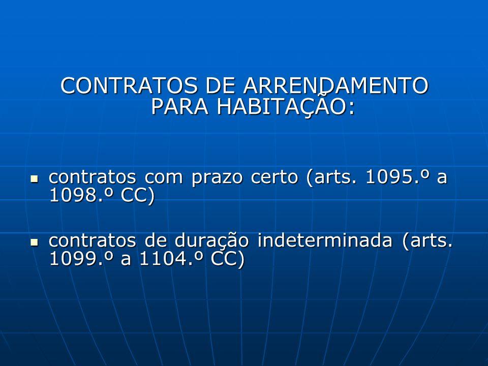 CONTRATOS DE ARRENDAMENTO PARA HABITAÇÃO: