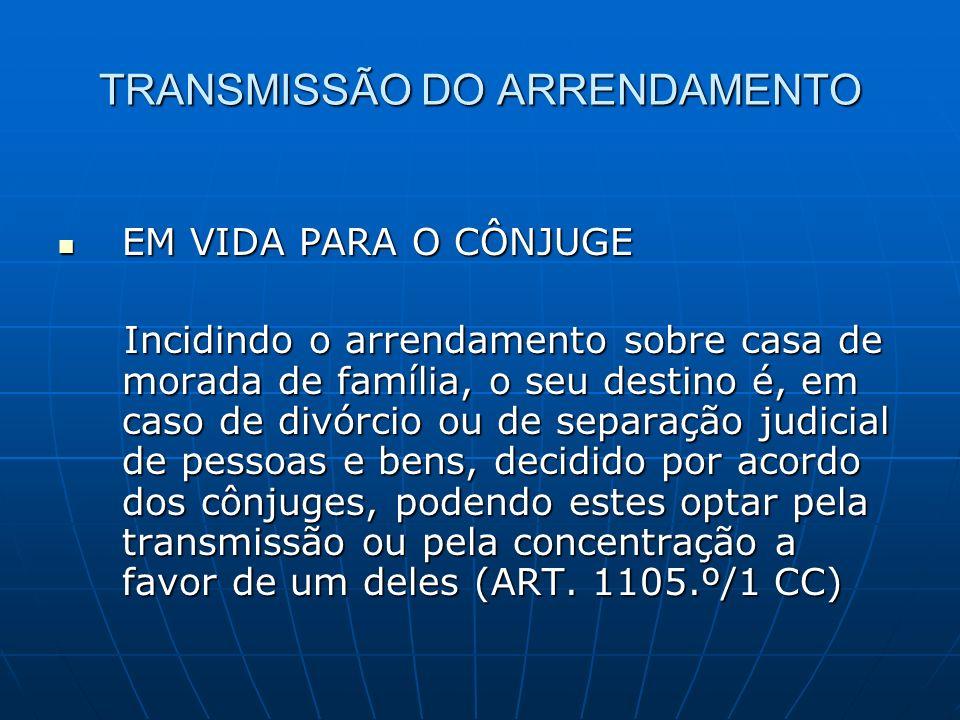 TRANSMISSÃO DO ARRENDAMENTO