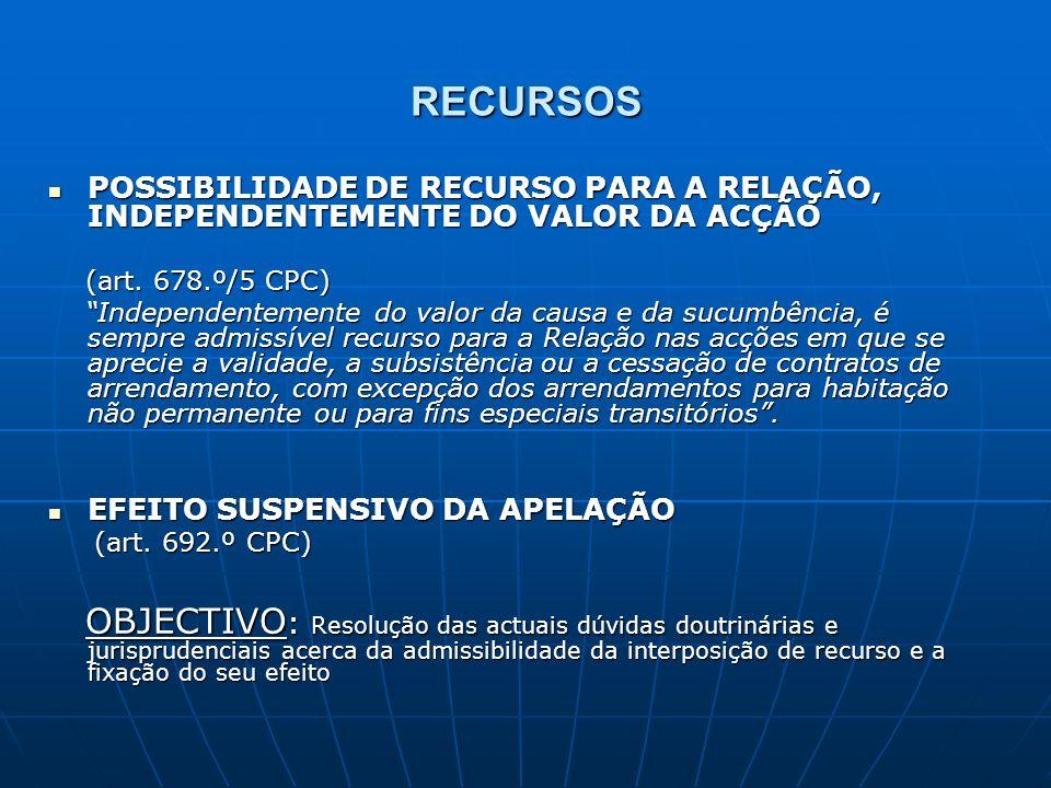 RECURSOS POSSIBILIDADE DE RECURSO PARA A RELAÇÃO, INDEPENDENTEMENTE DO VALOR DA ACÇÃO. (art. 678.º/5 CPC)