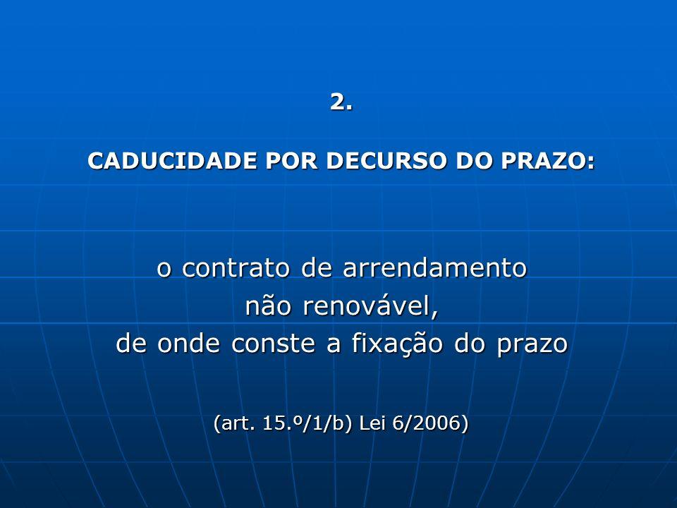 CADUCIDADE POR DECURSO DO PRAZO: