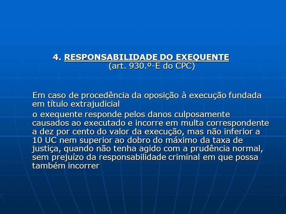 4. RESPONSABILIDADE DO EXEQUENTE (art. 930.º-E do CPC)
